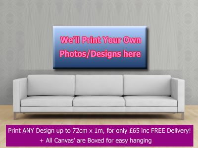 1 x Custom Boxed Canvas Printing - up to 72cm x 1m