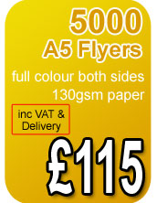5000 a5 130gsm flyers